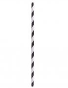 100 Pailles en papier rayées noires et blanches 20 cm