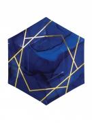 8 Petites assiettes en carton hexagonales marbre bleues et dorées 20 cm