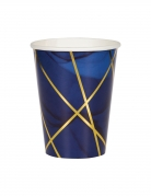 8 Gobelets en carton marbre bleus et dorés 355 ml