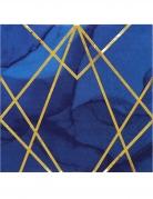 16 Serviettes en papier marbre bleues et dorées 33 x 33 cm