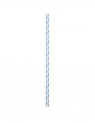 24 Pailles en carton flexibles bleu pastel 19,7 cm