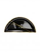 6 Petites assiettes en carton noires et bandes dorées 21,5 x 10,5 cm