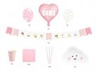 Kit décoration baby shower fille rose 49 pièces