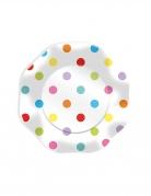 10 Assiettes en carton pois multicolores 23 cm