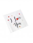 16 Serviettes en papier i love you blanches noires rouges et or 33 x 33 cm