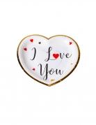 8 Assiettes en carton i love you blanches noires rouges dorure or 19,5 x 19,5 cm