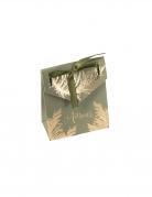 10 Contenants en carton pampa kaki et dorure or avec ruban 7 x 8,5 x 3,5 cm