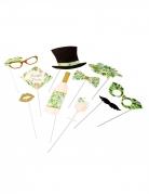 Kit photobooth tropical ivoire avec dorure 10 accessoires