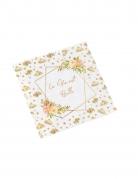 16 Serviettes en papier aquarelle la vie est belle dorées 33 x 33 cm