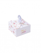 10 Boîtes festonnées en carton aquarelle merci dorure 6,8 x 3,5 cm