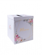 Urne en carton Merci aquarelle dorure 21 x 21 x 25 cm
