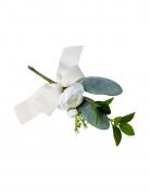 Branche de pivoines blanches et feuillages avec ruban 20 cm
