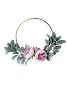 Couronne de pivoines roses et feuilles vertes métal doré 30 cm
