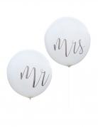 2 Ballons en latex géants Mr & Mrs blancs 91 cm