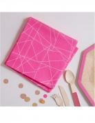 20 Serviettes en papier géométrique rose néon 33 x 33 cm