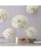 5 Pompons en papier de soie ivoire 32,5 et 25,5 cm