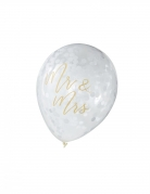 5 Ballons en latex transparents Mr & Mrs dorés 30 cm