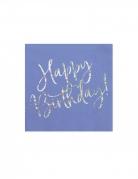 20 Serviettes en papier bleues happy birthday iridescent 33 x 33 cm