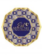 8 Assiettes en carton eid mubarak bleues et dorées 23 cm