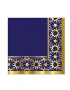 16 Serviettes en papier eid mubarak bleues et dorées 33 x 33 cm