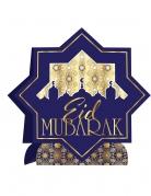 Centre de table en carton eid mubarak bleu et doré 28 x 28 cm
