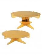 2 Supports gâteaux en carton dorés métallisés 31 cm
