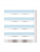 16 Serviettes en papier à rayures bleues et blanches 33 x 33 cm