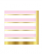 16 Serviettes en papier à rayures roses et blanches 33 x 33 cm