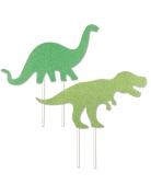 2 Cake toppers en plastique dinosaures 20 x 21 cm