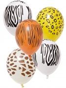 5 Ballons en latex imprimé safari 29 cm