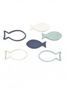 12 Confettis de table poissons bleus et blancs 4 x 2 cm