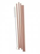 5 Pailles réutilisables en acier rose gold avec brosse 21 cm
