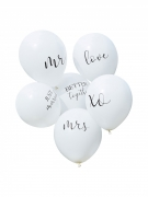 6 Ballons en latex blancs mariage 30 cm