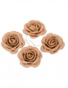 4 Roses en jute 5 cm