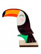 Centre de table en bois toucan mignon 10 x 10 x 4 cm