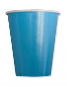 8 Gobelets en carton turquoise 250 ml