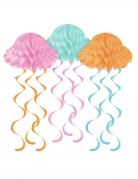 3 Suspensions en papier alvéolé méduses colorées 61 x 30 cm