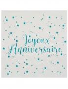 20 Serviettes papier Joyeux anniversaire turquoise 25 x 25 cm