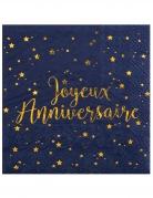 20 Serviettes papier Joyeux anniversaire bleu marine 33 x 33 cm