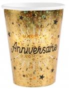 10 Gobelets carton Joyeux anniversaire noir et or 7,8 x 9,7 cm