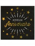 10 Serviettes papier Joyeux anniversaire noir et or 33 x 33 cm