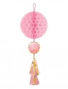 Suspension en papier alvéolé Oh Baby rose et or avec tassel 75 cm
