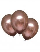 6 Ballons en latex rose gold satinés 28 cm