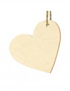 10 Marque-places en bois cœurs 6 x 5 cm