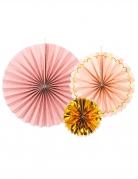 3 Rosaces en carton rose poudré et or 13,25 et 32 cm