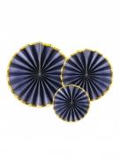3 Rosaces en carton bleu nuit et or 23, 32 et 40 cm