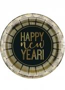 8 Petites assiettes en carton New Year noir et doré 18 cm