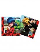 20 Serviettes en papier compostable Miraculous Ladybug™ 33 x 33 cm