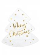 20 Serviettes en papier sapin Merry Christmas blanc et or 16 x 16,5 cm