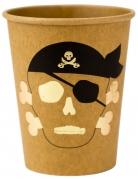 8 Gobelets en carton Pirate kraft et dorure 255 ml